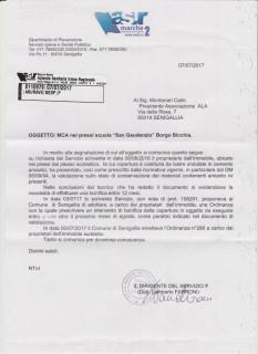 Risposta a segnalazione presenza amianto alla scuola San Gaudenzio di Borgo Bicchia a Senigallia