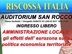 Gli effetti dell'Eurozona sulla politica economica territoriale - Incontro a San Rocco organizzato da Riscossa Italia