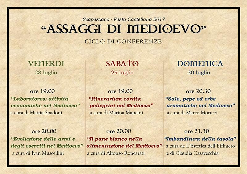Assaggi di Medioevo, conferenze alla Festa Castellana 2017 di Scapezzano di Senigallia
