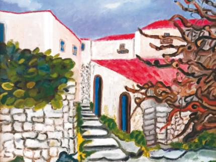 Uno dei quadri di Lucia D'Aleo esposti alla Rotonda di Senigallia