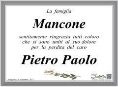 Il manifesto di ringraziamento della famiglia Mancone