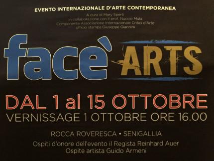 """La locandina della mostra """"Facè arts"""" a Senigallia"""