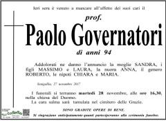 Lutto per la scomparsa del prof. Paolo Governatori