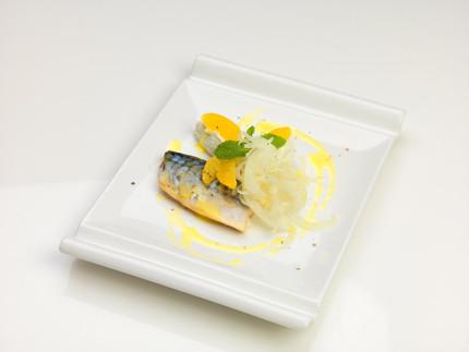 Sgombro leggermente affumicato con ricotta aromatizzata e insalatina di finocchio e arancio - ricetta di Paolo Brugiatelli