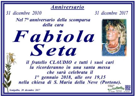 Fabiola Seta, anniversario morte