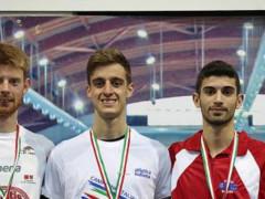 Giacomo Brandi, a destra, bronzo agli italiani indoor di marcia