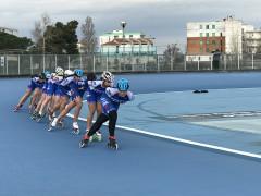 Nazionale italiana di pattinaggio a rotelle in allenamento a Senigallia