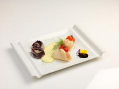 Bocconcini di rana pescatrice in olio cottura con spuma di Patate alla menta e radicchio brasato - ricetta di Fabio Catalani