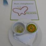 Sfera di panzanella con peperoni, olive e basilico, Patate, porro e tartufo
