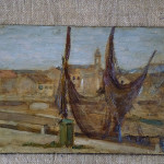 Porto di Senigallia dipinto da Corrado Gabani, pittore dell'800 e '900