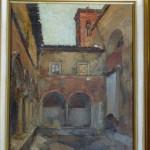 Chiostro delle Grazie dipinto da Corrado Gabani, pittore dell'800 e '900