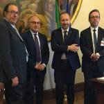 Nella foto da sinistra: Davide Da Ros, Massimo Bello, sen. Paolo Arrigoni, Milco Mariani (Segretario provinciale di Ancona della LEGA)