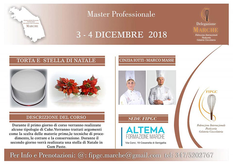 Corso pasticceria master professionale presso Altema Formazione Marche a Senigallia