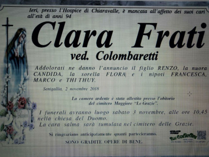 Clara Frati, necrologi