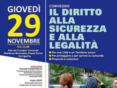 Convegno a Senigallia su diritto a sicurezza e legalità