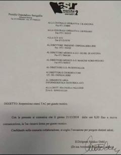 Comunicazione rottura TAC all'ospedale di Senigallia