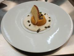 Tortino di zucca gialla con crema di cacio e pepe - ricetta Ristorante Il Giardino di San Lorenzo in Campo