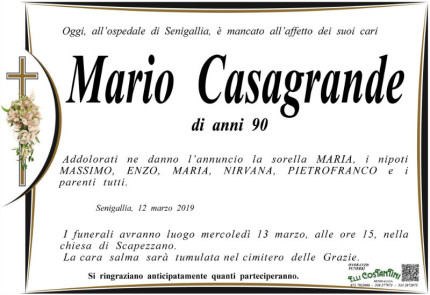 Mario Casagrande, necrologio
