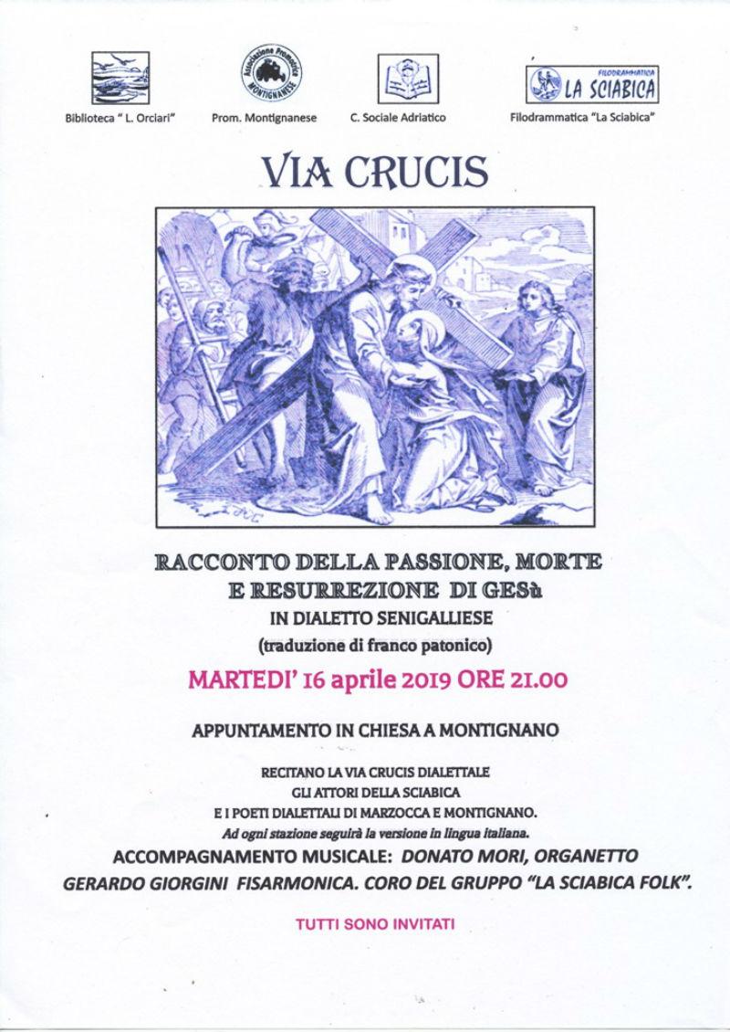 Via Crucis in dialetto 2019 a Montignano di Senigallia - locandina