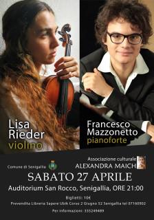 Concerto Lisa Rieder (violino) e Francesco Mazzonetto (pianoforte) all'auditorium San Rocco - locandina