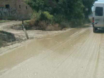 La strada Arceviese allagata
