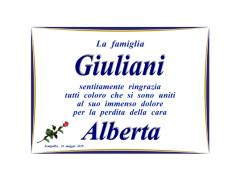 I ringraziamenti della famiglia Giuliani