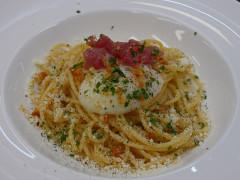 Spaghettoni Felicetti alla carbonara di tonno - ricetta ristorante La DegOsteria