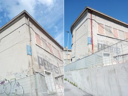 Discendente in cemento amianto prima e dopo la rimozione