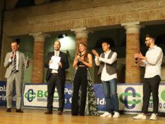 "Presentatori della ""Notte dello sport"". Da sinistra: Fabio Girolimetti, Matteo Magnarelli, Sharon Renzi, Giovanni Girolimetti, Giacomo Valeri"