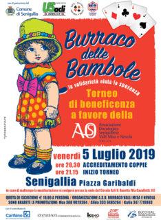 Burraco delle Bambole 2019 a Senigallia pro AOS - locandina