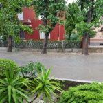 Allagamenti per la pioggia in via Mercantini