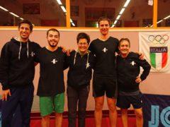 Volontari in servizio presso il Tennistavolo Senigallia assieme a Falappa, Moretti, Giacomini