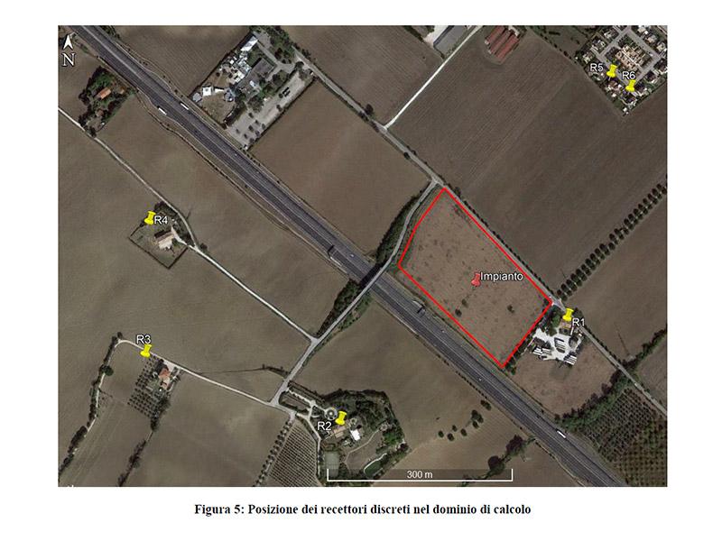 Progetto impianto gestione rifiuti a Cesano di Senigallia - posizione dei recettori