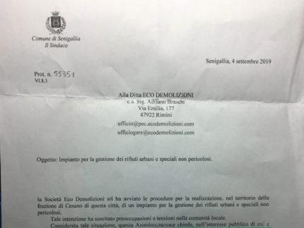 Il testo e le parole ufficiali del sindaco nella lettera inviata alla eco demolizioni