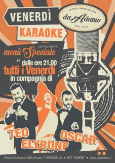 Karaoke all'osteria Da Adamo con Ely Ronf, Oscar e Teo - locandina