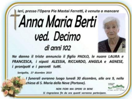 Anna Maria Berti, necrologio