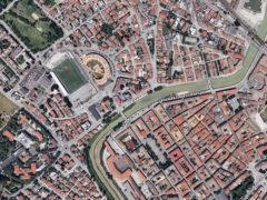 Veduta aerea dell'area dello stadio Bianchelli e del centro di Senigallia