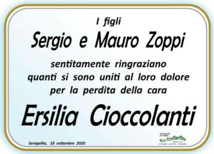 Ersilia Cioccolanti, ringraziamenti