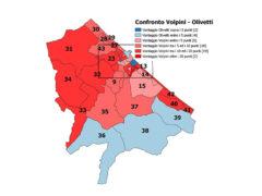 Mappa con il confronto tra le percentuali dei due candidati sindaco che andranno al ballottaggio sezione per sezione