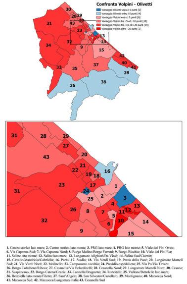 Mappa completa con il confronto tra le percentuali dei due candidati sindaco che andranno al ballottaggio sezione per sezione