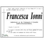 Necrologio Francesca Ionni