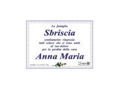 Necrologio ringraziamenti Anna Maria Sbriscia