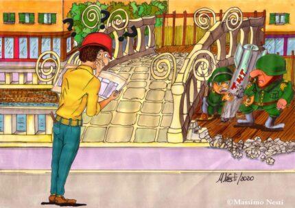 Ponte 2 Giugno tra bombe e cantiere - Vignetta di Massimo Nesti