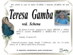 Necrologio di Teresa Gamba