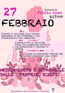 Presidio in piazza Roma a Senigallia organizzato da Movimento Donne contro i Fascismi - locandina