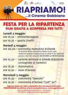 Locandina eventi della riapertura del cinema Gabbiano