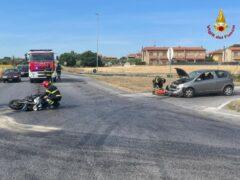 Incidente tra auto e moto sulla SP Corinaldese a Borgo Catena