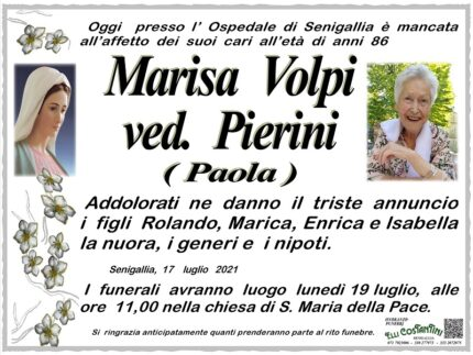 Necrologio di Marisa Volpi