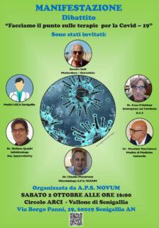 Dibattito sulle terapie Covid-19, sabato 2 ottobre a Senigallia - locandina