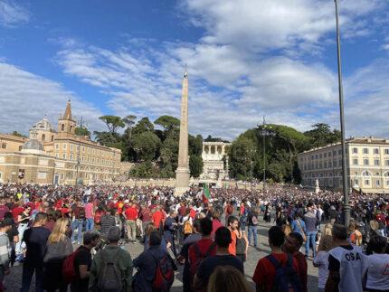 Manifestazione contro il Green Pass a piazza del Popolo a Roma